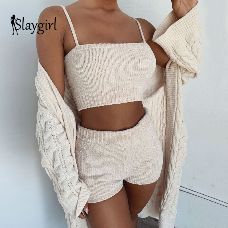 Slaygirl 2019 Sweater Sexy 2 Piece Set Women Fashion Sling Crop Tops And Shorts Suit Autumn Winter Knitted Two Piece Set Outfits