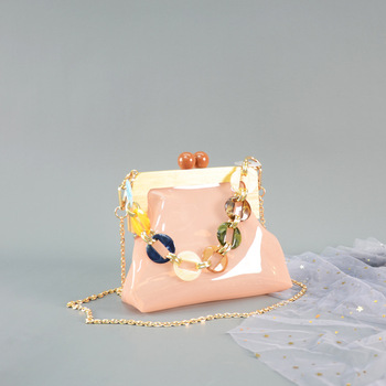 Clear Crossbody Purse | Ins Fashion PVC Transparent Jelly Bag Wooden Clip Shell Messenger Bag Ladies Clear Purse Acrylic Chain Handbag For Women 2019