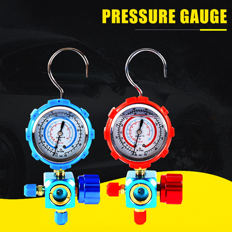 Refrigerant Manifold Gauge Manometer Valves Pressures Gauge Air Conditioner Tool R410a FKU66