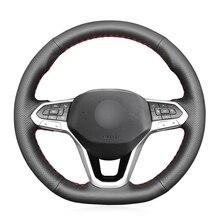 مخيط يدويا أسود بولي Faux فو الجلود عجلة توجيه سيارة غطاء ل Volkswagen VW Golf 8 2020 أطلس 2020 2021