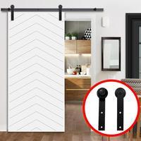 Sliding Barn Door Hardware Kit Top Mounted Hanger Track Black Steel Closet Door Roller Rail for Single Door Rail Pulley