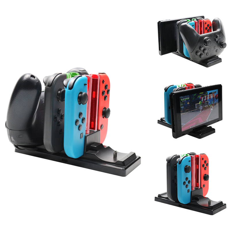 6 in1 Charging Dock For Nintend Switch Joy-con Controller LED Charger For Nintendo Switch Pro Gamepad Charge Stand NS