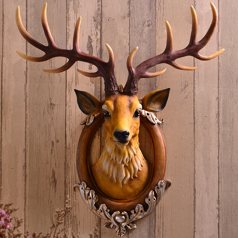 Home Statue Decoration Accessories Vintage Simulation Deer Head Skull 59cm Sculpture Room Wall Decor Resin  Animal Elk Statues