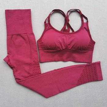 Женский комплект для йоги, бесшовная одежда для фитнеса, спортивная одежда для женщин, леггинсы для спортзала, мягкий спортивный бюстгальтер с пуш-ап и лямками, спортивные костюмы из 2 предметов