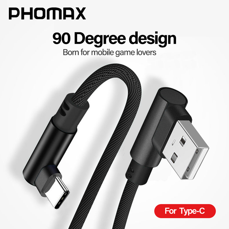 PHOMAX USB Type C 90 Degree Fast Charging Usb C Cable Type-c Data Cord Charger  For Samsung S8 S9 Note 9 8 Xiaomi Mi8 Mi6 Huawei