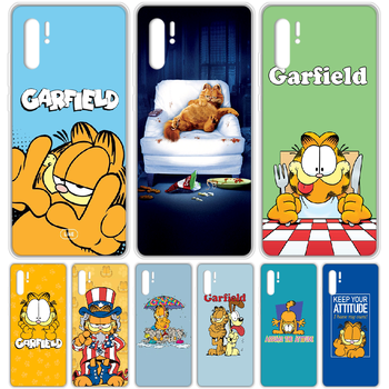 cartoon Garfield cat Phone Case cover For HUAWEI p 8 9 10 20 30 40 P pro Smart 2017 2019 Z lite transparent cover trend back 3D image