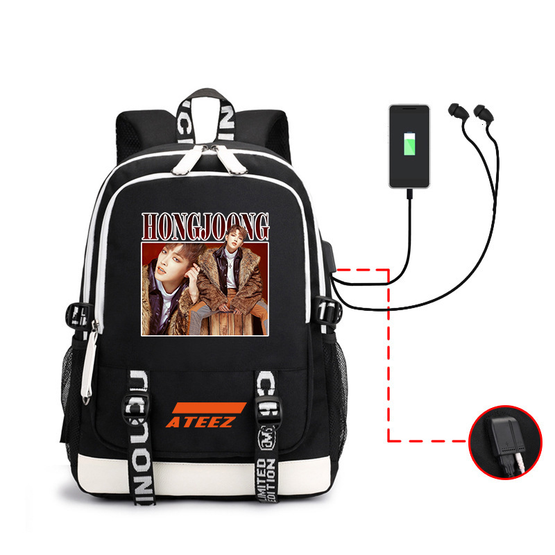 2019 Kpop Ateez Backpack Periphery A Bag Men And Women Both Shoulders Package Usb Headset Line Computer Package