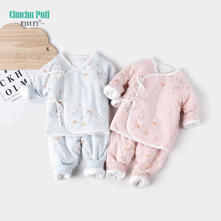 Cotton Squirrel Printed Winter Warm Quilted 2pc Newborn Baby Pajamas Set with Ribbon Cute Baby Overalls Warm Boys Jumpsuit Out