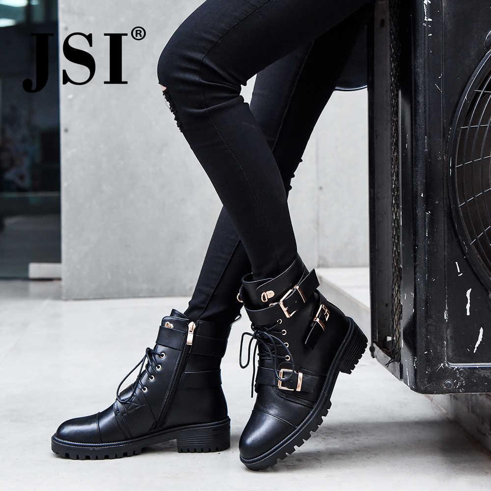 Jsi moda tornozelo de couro genuíno mulher botas rendas-up dedo do pé redondo inverno botas de salto quadrado qualidade sapatos de salto alto senhora jo296