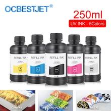 250ML 5Bottles/Set LED UV Ink For DX4 DX5 DX6 DX7 Printhead For Epson 1390 R1800 R1900 4800 4880 7880 9880 UV Flatbed Printer