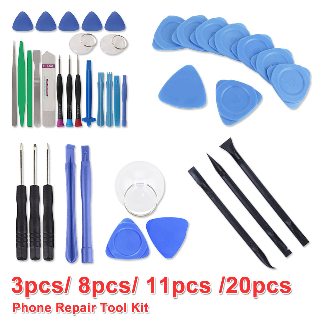 Hand Tools Set 8 in 1/11 in 1/20 in 1/3pcs Mobile Phone Repair Tools Kit Spudger Pry Opening Tool Screwdriver Set for Phone