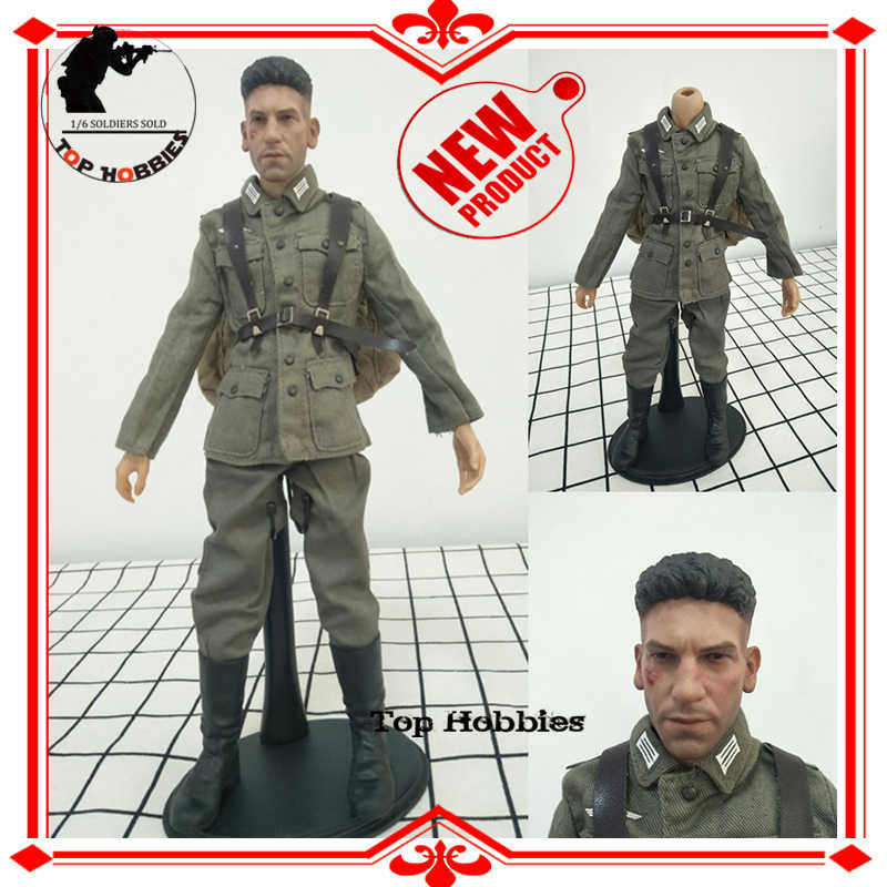 1//6 Sca Head Sculpt B005 Body German Uniform Coat Pants Suit Backpack Boots Set