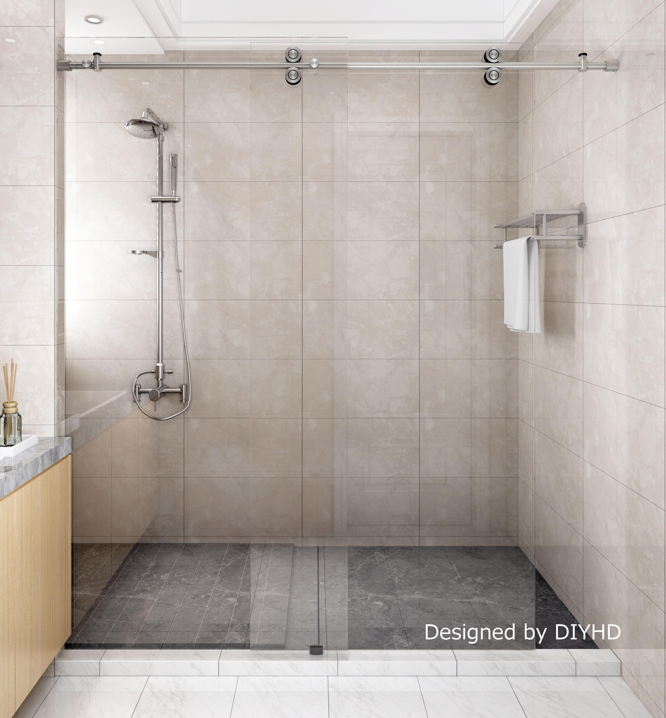 Us 81 0 Diyhd 5ft 6 6ft Frameless Sliding Shower Door Hardware Inline Barn Shower Stainless Steel Satin Chrome Finish Roller Kit In Bath Hardware