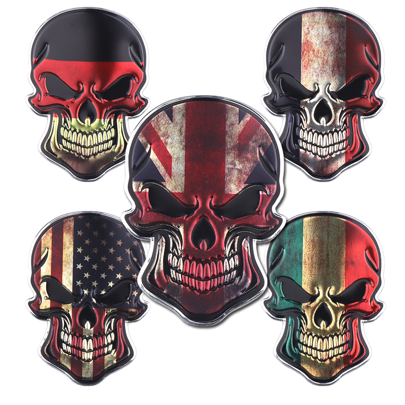 9*6.2CM Metal aluminum alloy Motorcycle Car United States United Kingdom France Germany Italy Stickers Skull Country Flag Decal