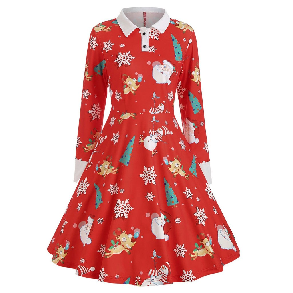 Fashion dress women Christmas 1950s Button Hollow Printing Vintage Gown Evening Party Dress robe hiver femme#guahao