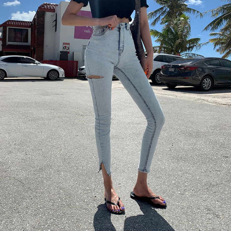 Retro Skinny Casual Holes Feet Jeans Women 2019 Autumn New Fashion High Waist Stretch Slim Split Cropped Jeans