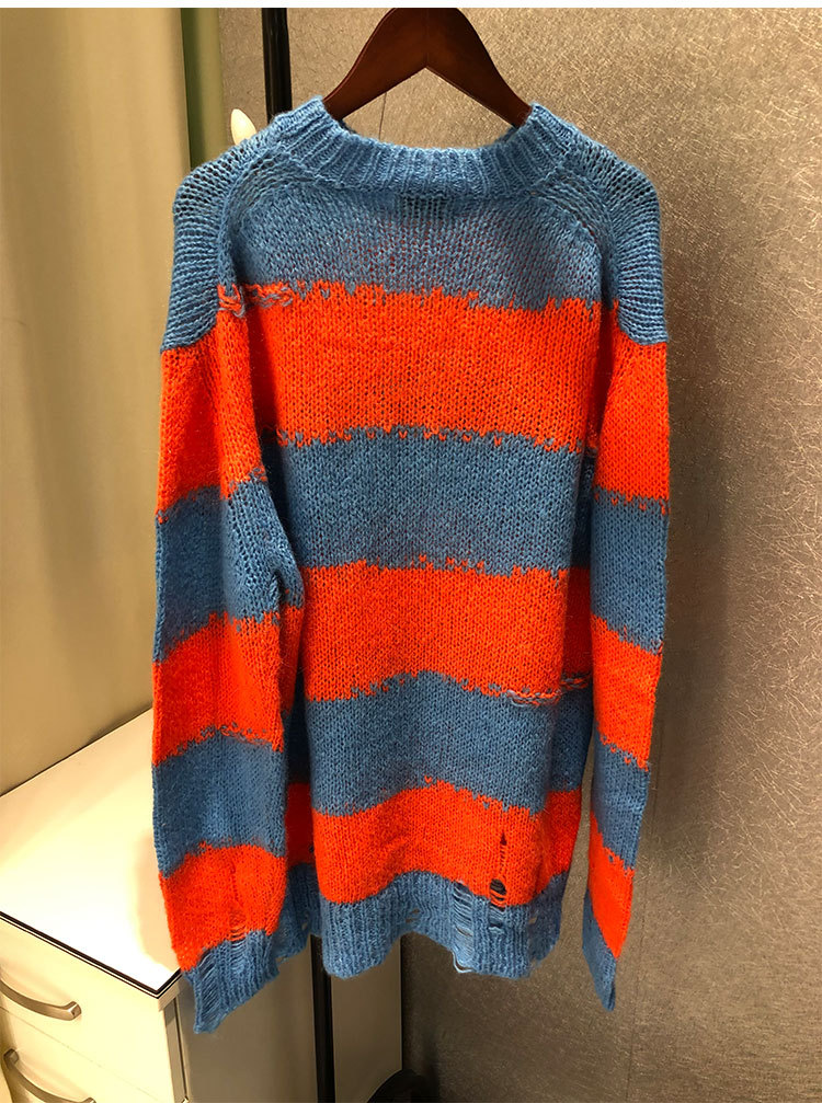 2019 Sweater Women Loose Hit Color Striped Broken Wool Sweater Women O Neck Pullovers Computer Knitted black Sweaters Women in Pullovers from Women 39 s Clothing