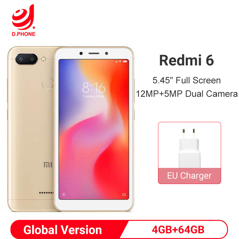 "Global Version Xiaomi Redmi 6 4GB 64GB Smartphone Helio P22 Octa Core Smartphone 12MP+5MP Dual Cameras 5.45"" 18:9 Full Screen"