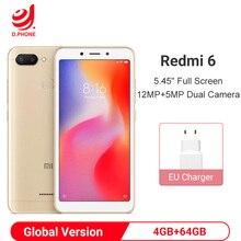 "Küresel sürüm Xiaomi Redmi 6 4GB 64GB Smartphone Helio P22 Octa çekirdek Smartphone 12MP + 5MP çift kameralar 5.45 ""18:9 tam ekran"