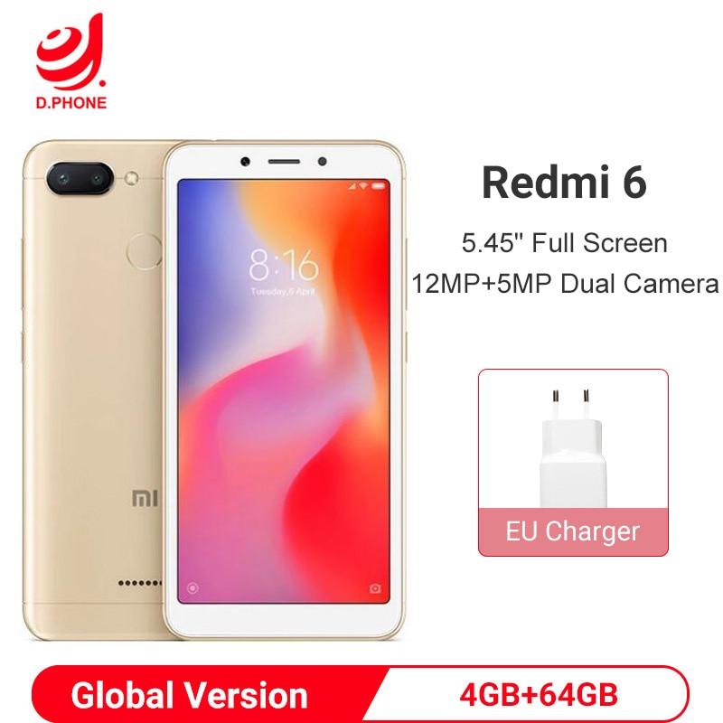 "Versión Global Xiaomi Redmi 6 4GB 64GB teléfono inteligente Helio P22 Octa Core Smartphone 12MP + 5MP Dual cámaras 5,45 ""18:9 Pantalla Completa"