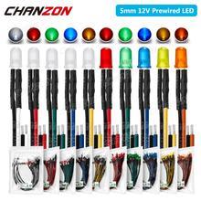 20 штук 5 мм Предварительно смонтированные светодиоды светильник светодиод 12V рассеянный F5 микро Белого красного, зеленого, синего, желтого, ...