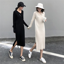Korean Style Autumn Winter Dress Women Chic Turn-down Collar Buttons Midi Knitted Sweater Dress Long Sleeve Black Vestidos Mujer 2019 spring summer loose black knitted dress women turn down collar office work midi dress women with button korean style dress
