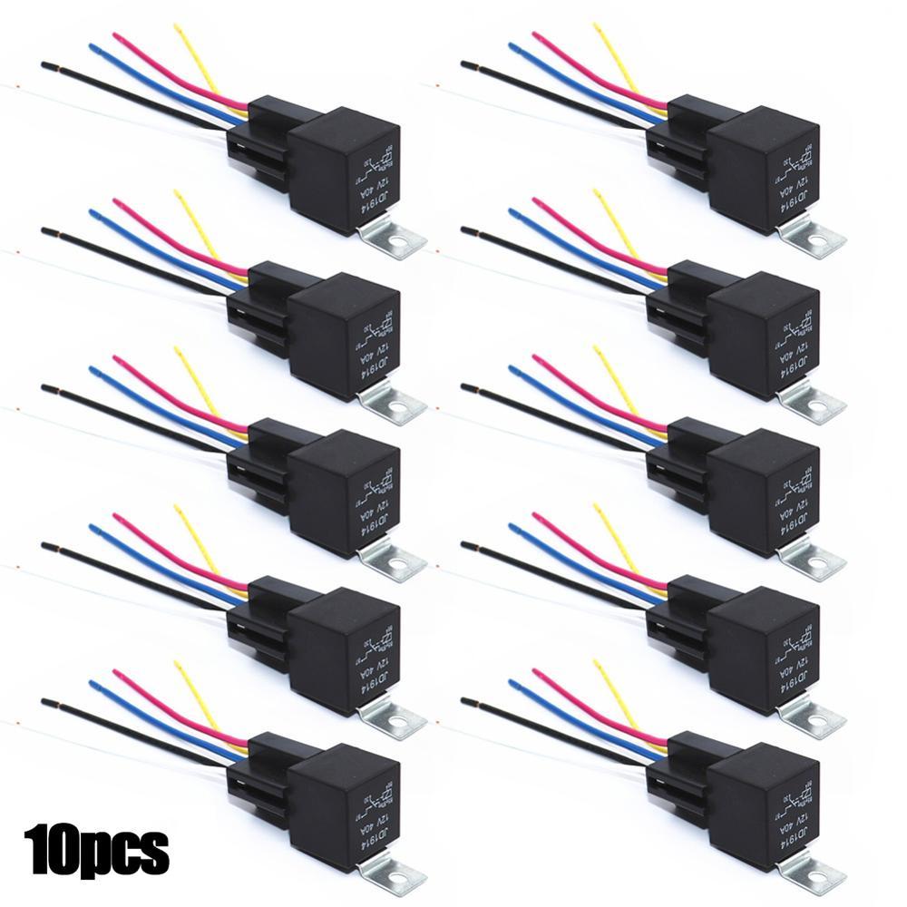 10 шт. 12 В SPDT автомобильное реле для модификации типа вставки 4 контакта 4 провода/5 контактов 5 проводов с жгутом 30/40 А