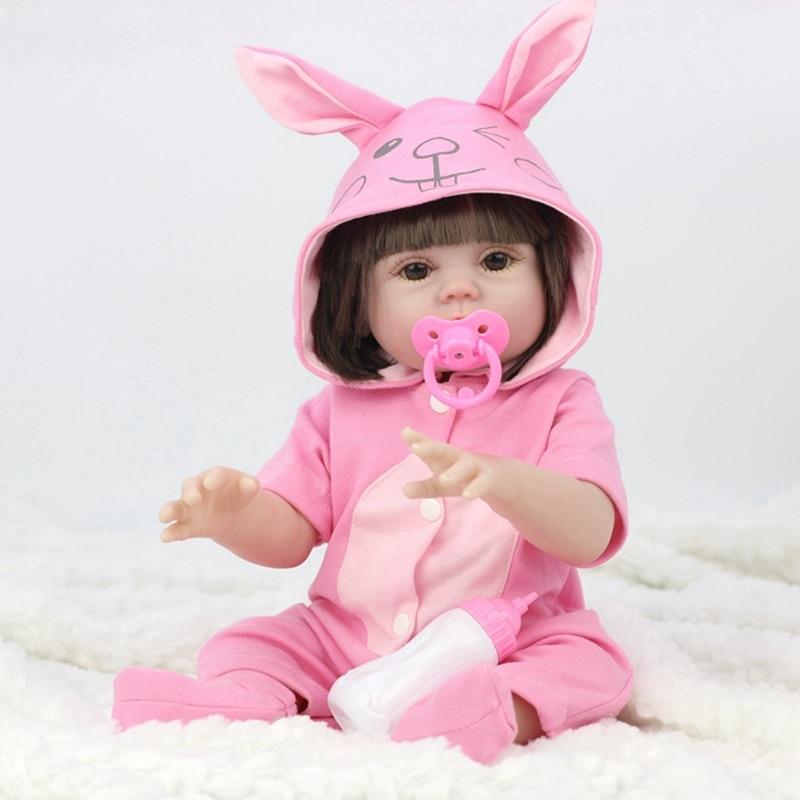 45 CENTÍMETROS Completo Silicone Beber Xixi Água Corpo de Vinil Renascer Lifelike Boneca Bebê Recém-nascido Da Menina Da Criança de Banho Brinquedo Brinquedo Aniversário presente