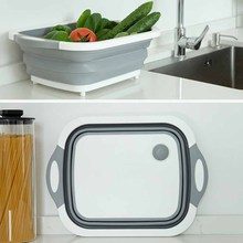 Multi-Function Cutting Storage Kitchen Chopping Blocks Tool Foldable Cutting Board Washable Fruit Storage Basket