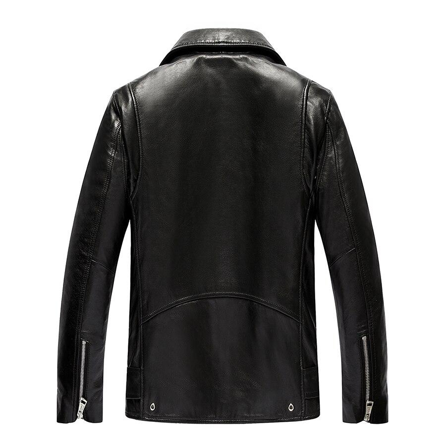 Genuine Jacket Men Real Sheepskin Leather Bomber Jackets Spring Autumn Motocycle Plus Size Coat 19-211 MF620