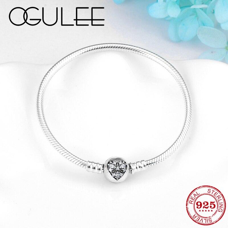 Love heart Snowflake Lock Flexible Bracelet Bangles for Women Charm Silver 925 Original Crystal CZ snake bone chain Jewelry 2019