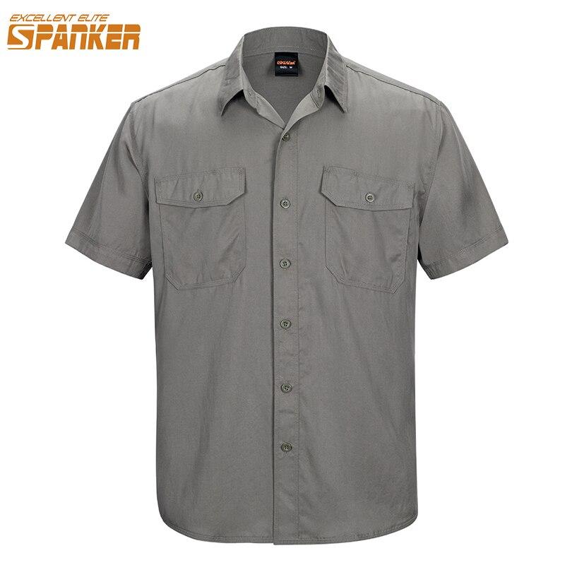 EXCELLENT ELITE SPANKER Outdoor Men's Short Sleeve Quick Dry Loose Tencel Shirt Po-lo Multicolor Sport Tactical T-Shirt