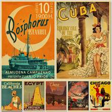 Travel Poster Decorative Wall-Sticker Kraft Home-Bar HOLLYWOOD/CUBA Gift Kid