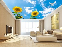 все цены на Custom any size photo Blue sky, white clouds, sunflower ceiling, mural 3d ceiling murals wallpaper онлайн
