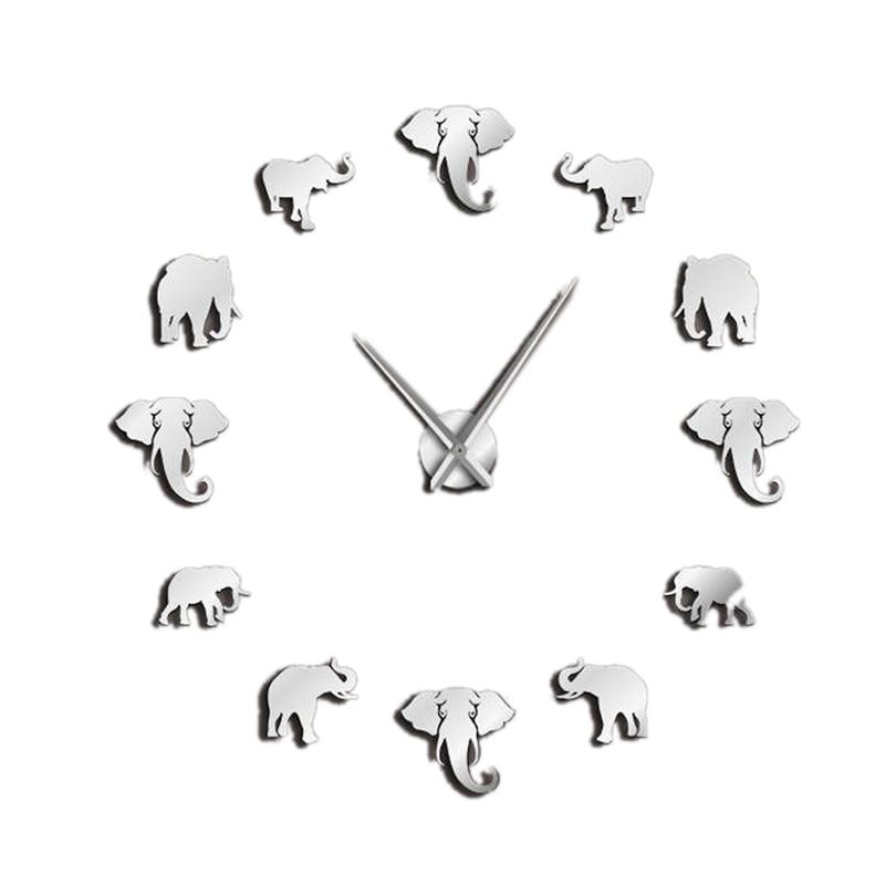 Jungle Animals Elephant Diy Large Wall Clock Home Decor Modern Design Mirror Effect Giant Frameless Elephants Diy Clock Watch