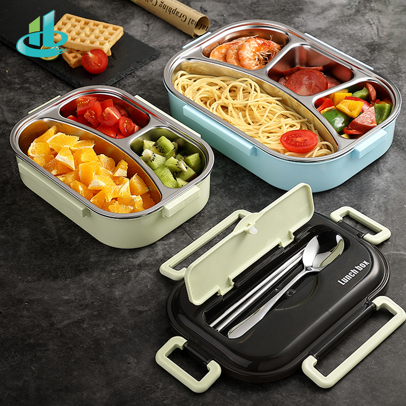 HENGFENG Portable 304 Stainless Steel Lunch Box Hot Japanese Style Compartment Bento Box Kitchen Leakproof Food Container