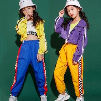 Girls Jazz Dance Clothing Children Hip-Hop Suit Autumn Kids Short Coat Street Dance Performance Outfit Catwalk Clothes DL5477