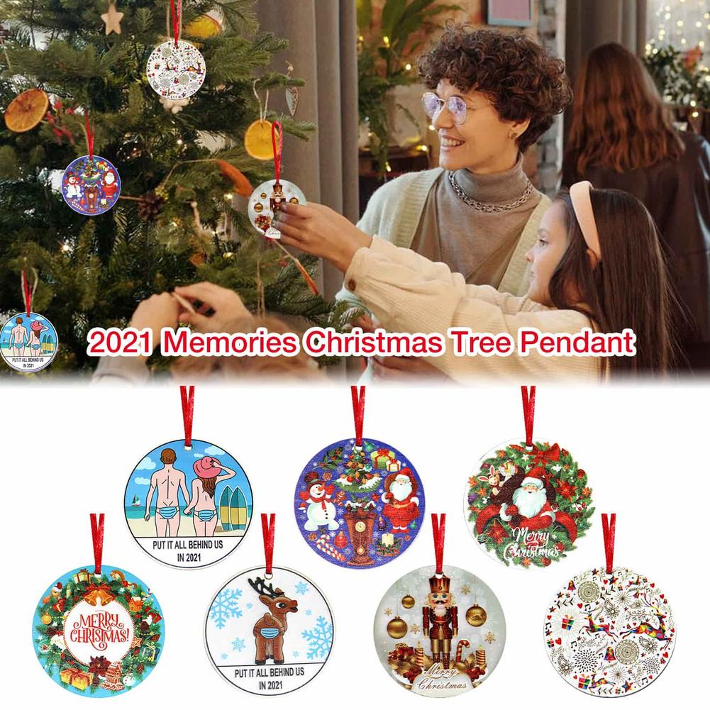 2021 New Year Memories Christmas Tree Pendant Insulated Wooden Disc Ornaments Unique Cute Xmas Home Decoration For Gift