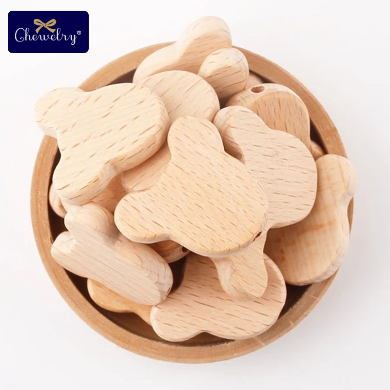 10pc Natural Wood Bears Heads Beads Jewelry Making For Teething Beech Wooden Teether DIY Dummy Pacifier Clip Chains Baby Teether