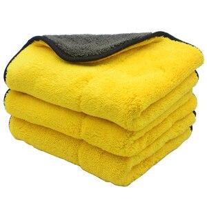 Image 3 - Chiffons de nettoyage de voiture en Microfibre, peluche Super épaisse, 3 pièces, 45cm x 38cm, 800 g/m², soins de voiture, cire Microfibre, polissage des détails, serviettes douces