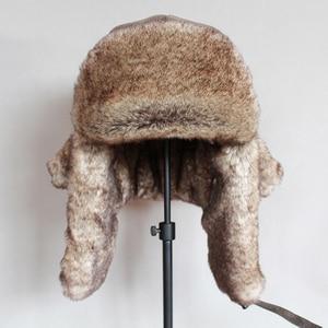 Image 4 - כובעי מפציץ חורף גברים חם רוסית Ushanka כובע עם אוזן דש עור מפוצל פרווה הצייד כובע Earflap