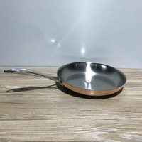 30cm 304 stainless steel copper color frying pan flat bottom three layers without coating gas cooker skillet breakfast egg pot