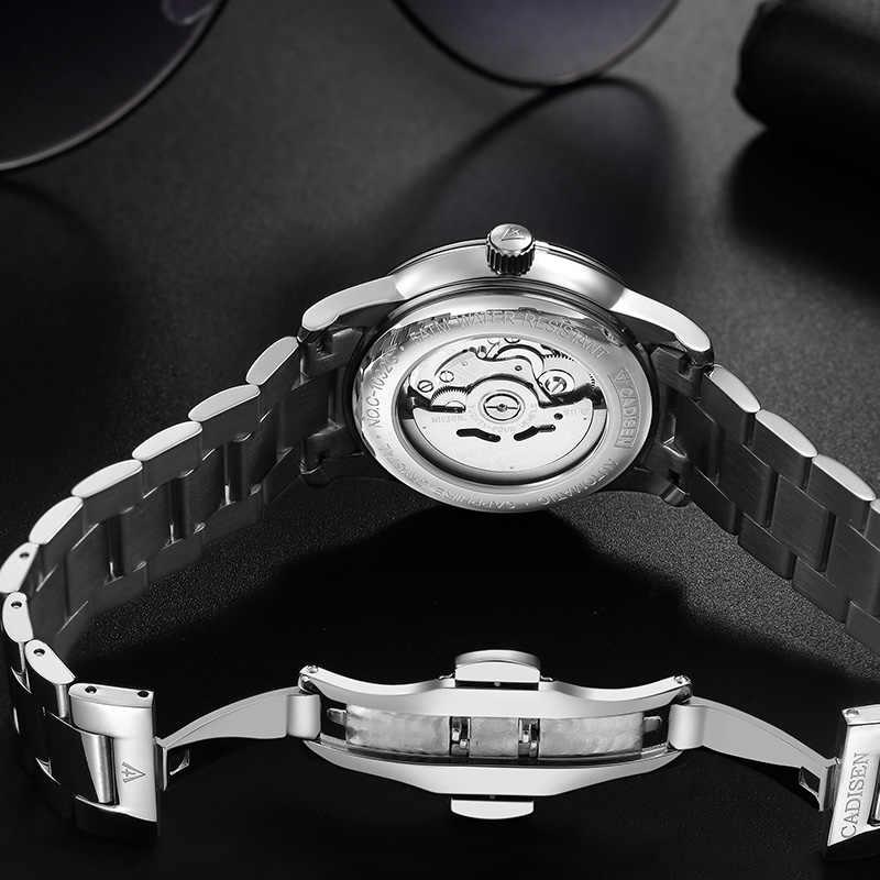 CADISEN الرجال ساعة أوتوماتيكية ساعات آلية اليابان NH36A دور تاريخ الأسبوع قمة العلامة التجارية الفاخرة ساعة معصم ساعة Relogio Masculino