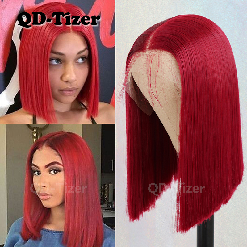 QD-Tizer 13*6 Red Color Lace Front Wig Short Bob Glueless Heat Resistant Synthetic Lace Wigs For Women