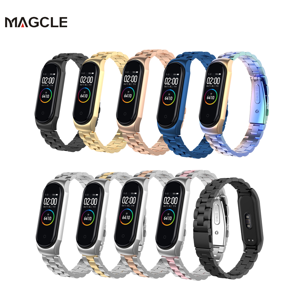 Mi Band 5 4 Replacement Metal Strap for Xiaomi band 5 Wrist Strap Stainless Steel Bracelet Wristbands MiBand3 strap   Metal Case