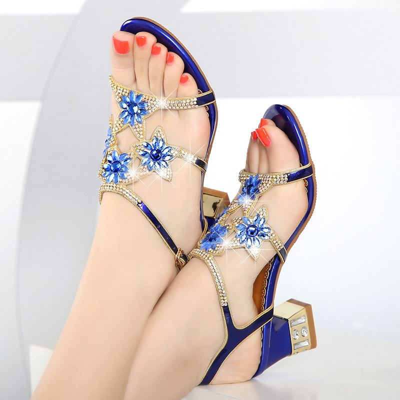 Sandals Rhinestone Shoes Fish Mouth Semi-high Heels Crystal Set-Style Hoof Heels  Shoes