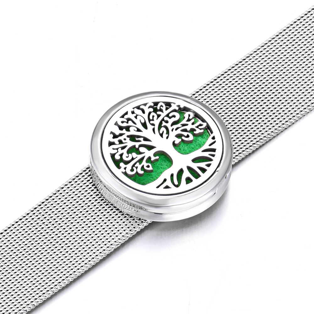 ארומתרפיה באיכות גבוהה תליון צמיד 316L נירוסטה עץ של חיים בושם חיוני שמן מפזר צמיד רצועת השעון