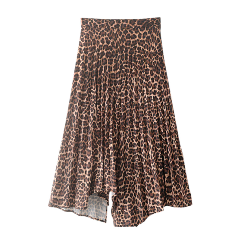 Women Leopard Print Midi Skirts Zipper Fly Split Irregular Female Casual Summer Chic Ankle Skirt FFZBQ78