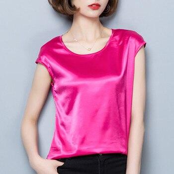 Women Blouses Casual OL Silk Blouse Summer Loose Basic Satin Shirt Work Wear Blusas Feminina Tops Shirts Plus Size XXXL/4XL Tops 4