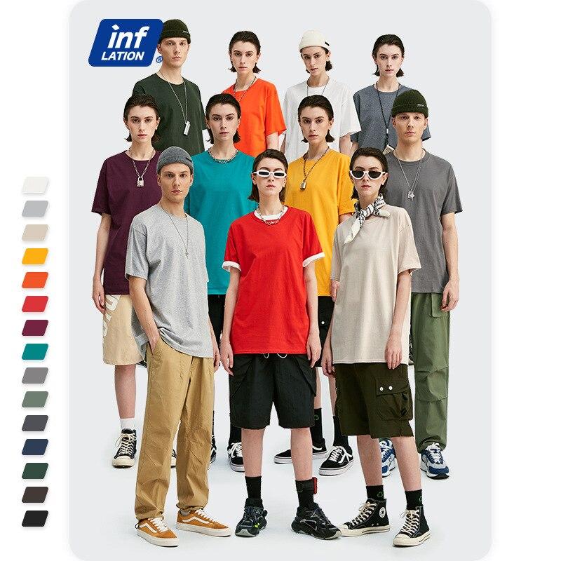INFLATION Summer Men T shirt Men Multicolor Short Sleeve T Shirt Unisex 100% Cotton Tee Shirts Men Round Neck Casual Tees 035S16 tee shirt homme t shirt ment shirt - AliExpress